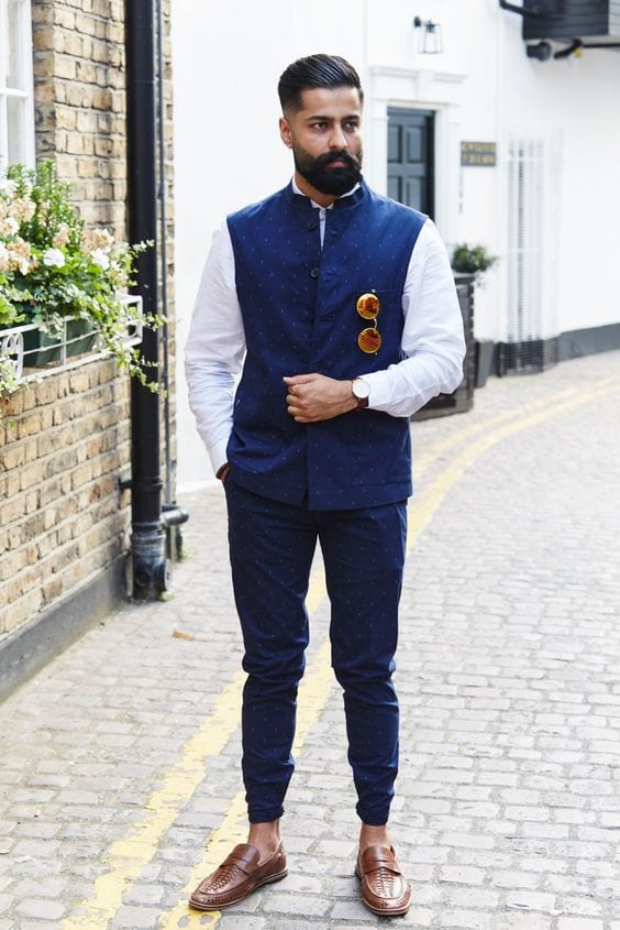 white shirt with navy blue nehru jacket