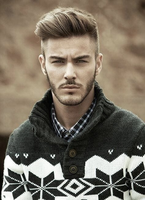 pompadour side part men