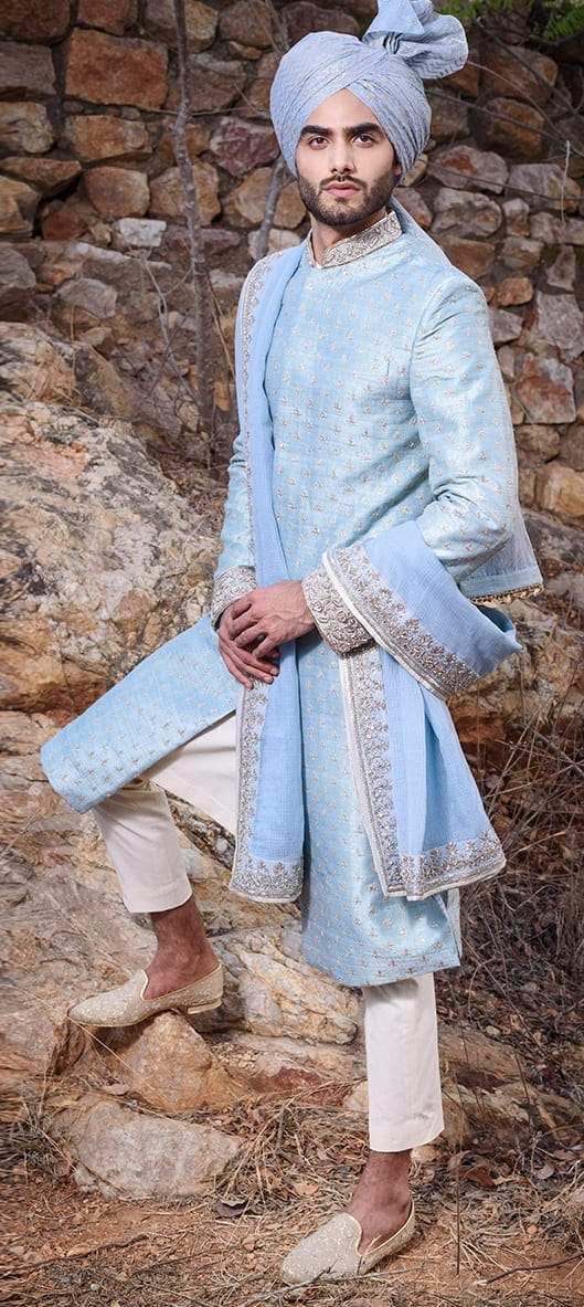 Powder Blue Sherwani for Indian Groom