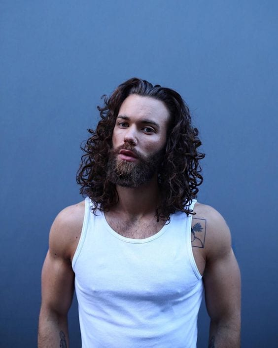 curly hairstyles and beard
