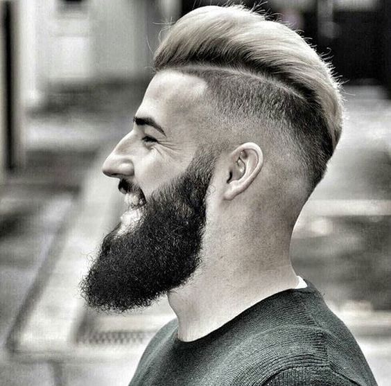 disconnected pompadour with beard