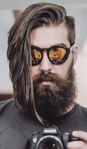 long hair side part