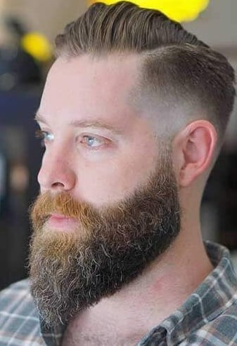side part fade with beard