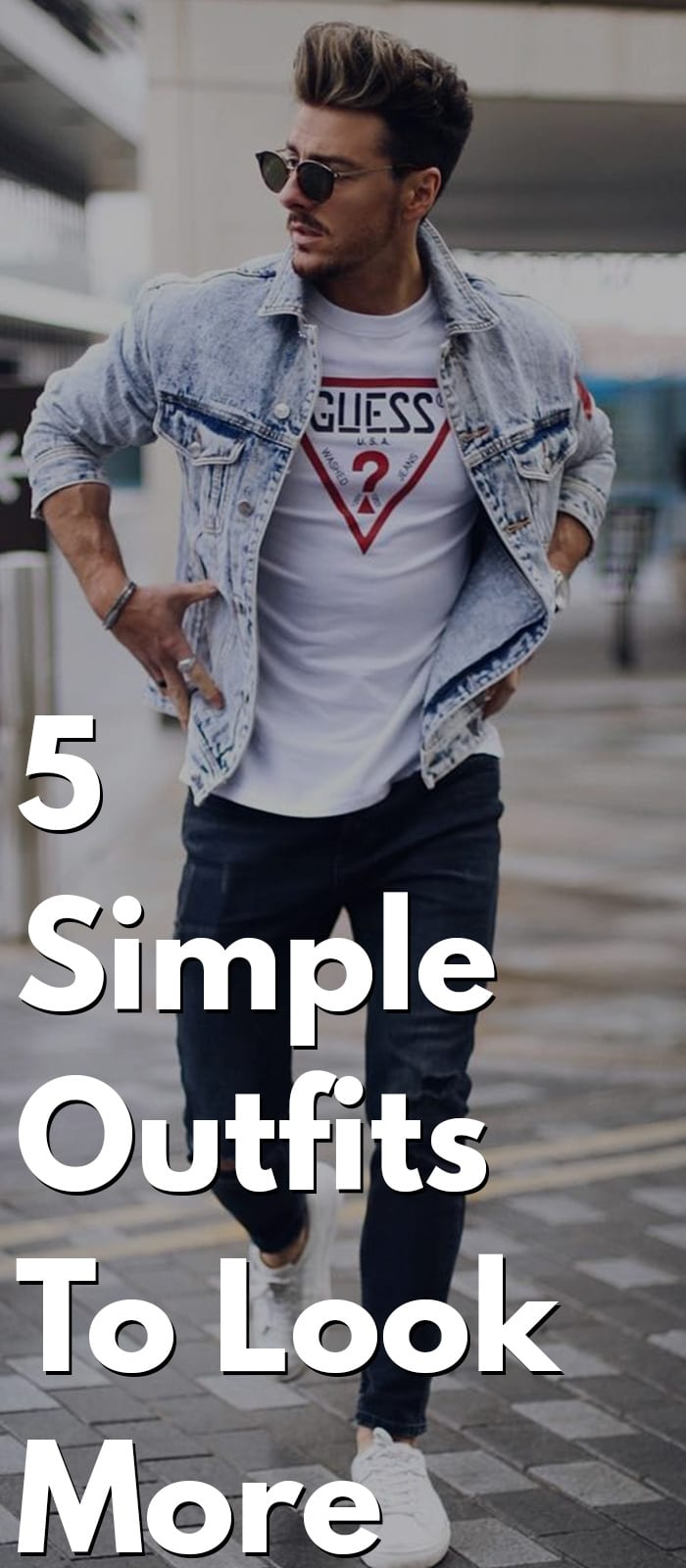 Outfits That Make You Look More Muscular - Short Sleeve T-shirt, Balanced Outfit, White Shirt, etc