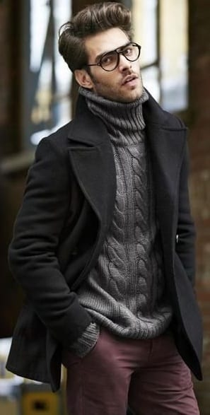 black pea coat with turtle neck sweater