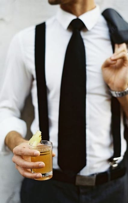 black tie with suspenders