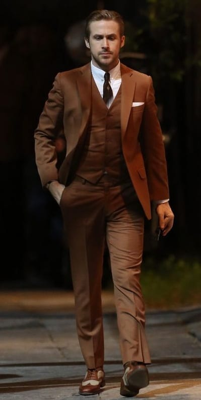 brown suit ryan gosling