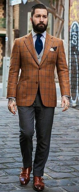 checked rust blazer