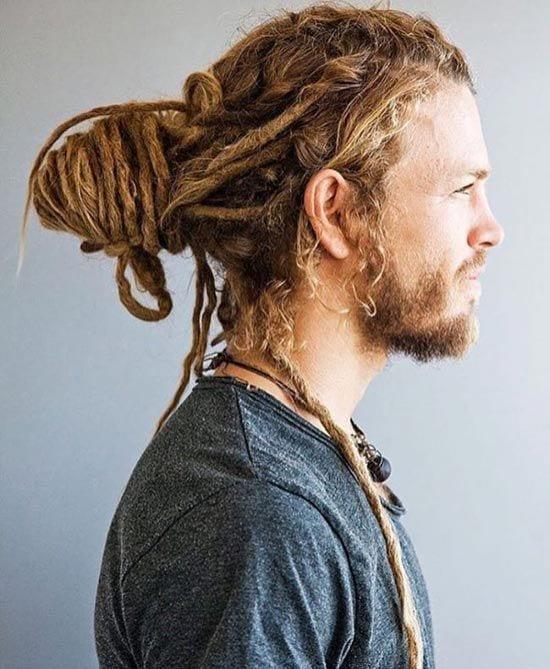 dreadlock man bun hairstyle