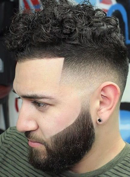 faded curly mohawk