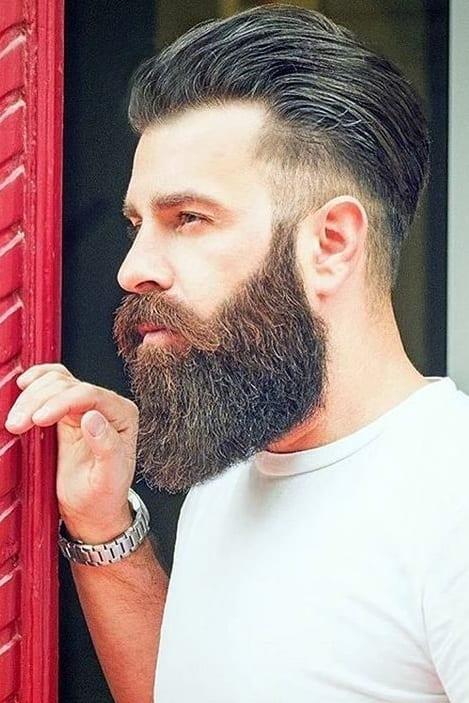 low fade mohawk with beard