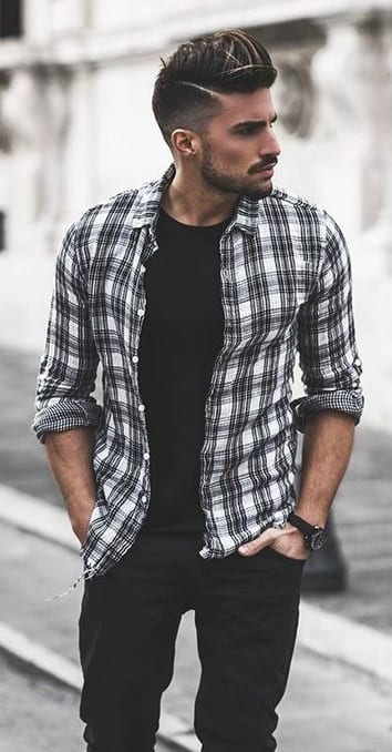 marvelo b-w flannel shirt