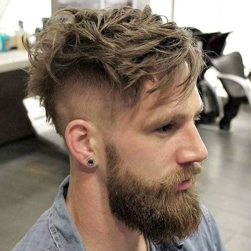 messy undercut beard with mustache