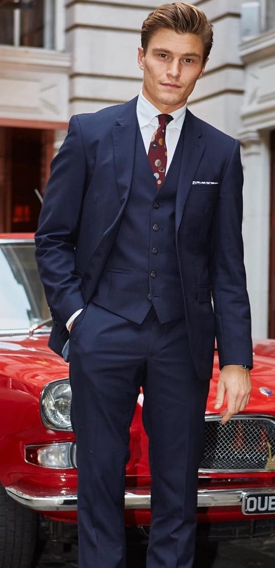oliver navy blue suit