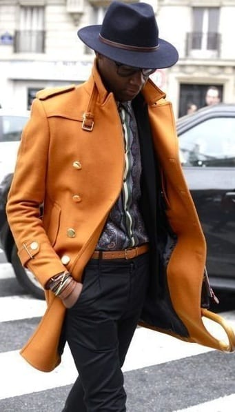 orange pea coat