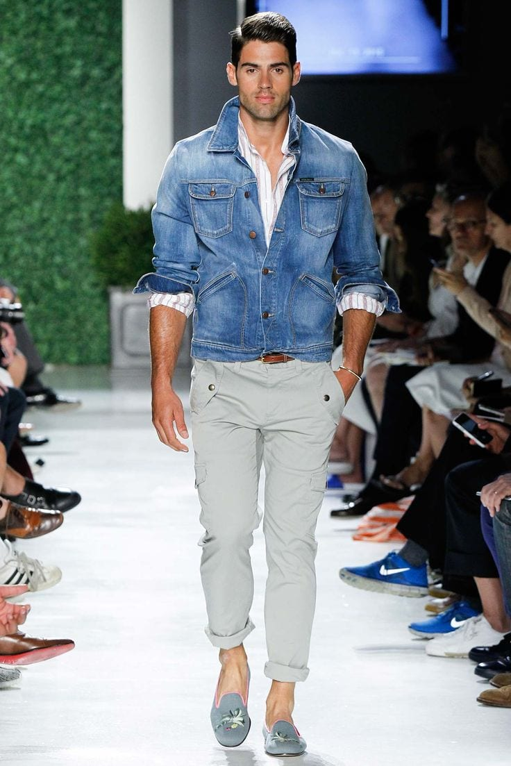 runway fashion denim outfit