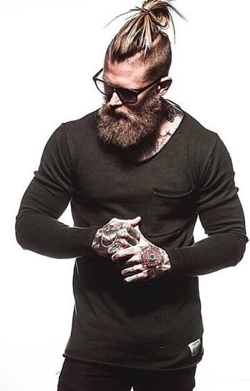 undercut man bun with beard