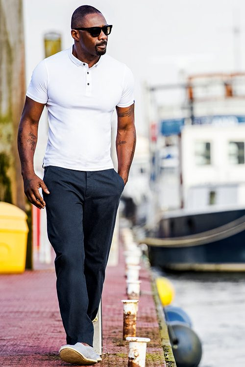white outfit-dark skin tone men style guide