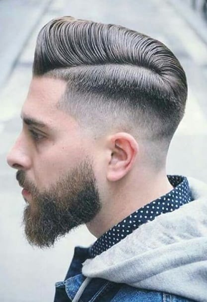 side part fade beard