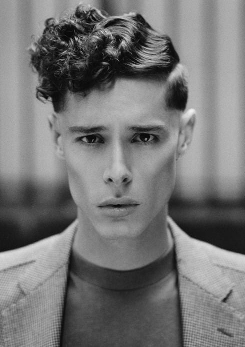 side part fade pompadour wavy