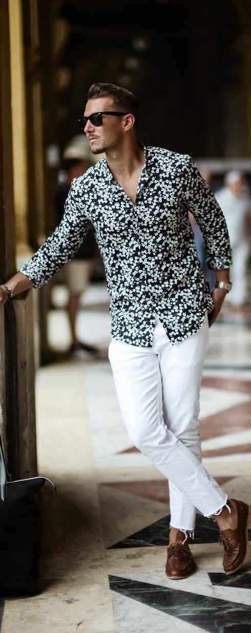 white denim with printed shirt