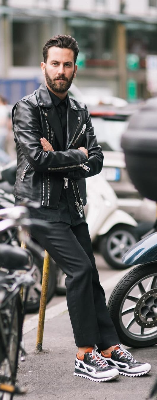 Black T-shirt With Leather Jacket Outfit Ideas For Men