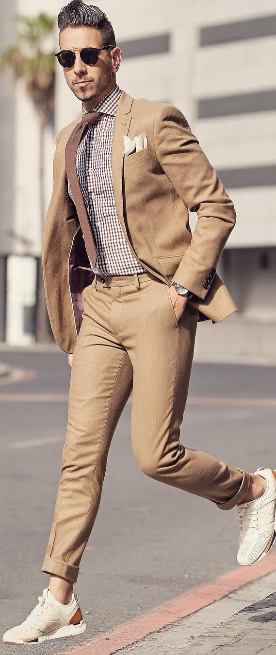 Brown Shirt And Beige Suit Combinations For Men To Style