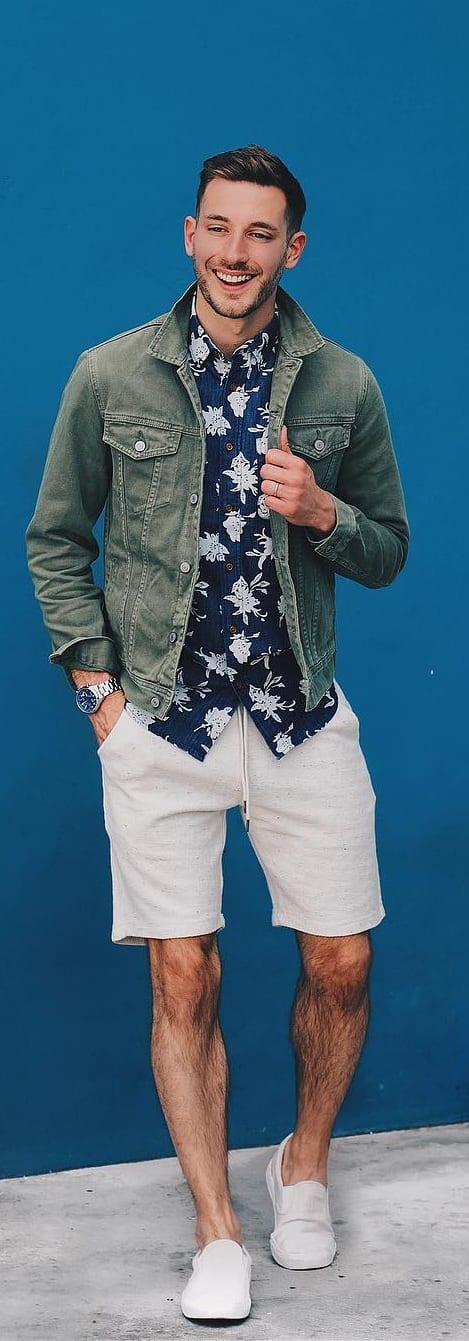 Floral Shirt And Jacket With Shorts For Men