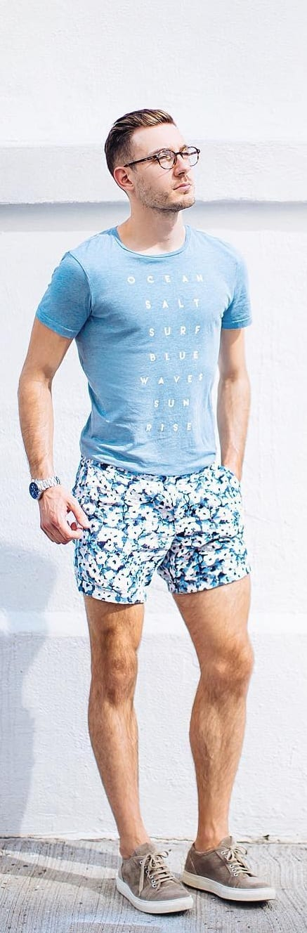 Graphic T-shirt With Floral Shorts For Men