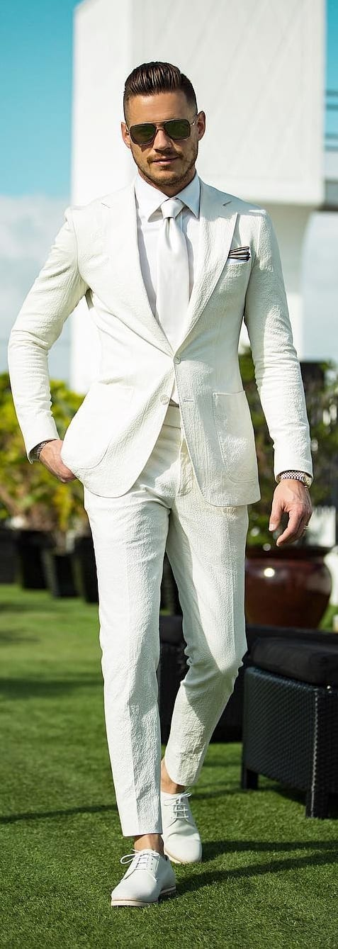 White Shirt And White Suit Combinations For Men To Style