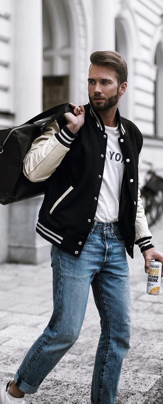 White T-shirt With Bomber Jacket Outfit Ideas For Men