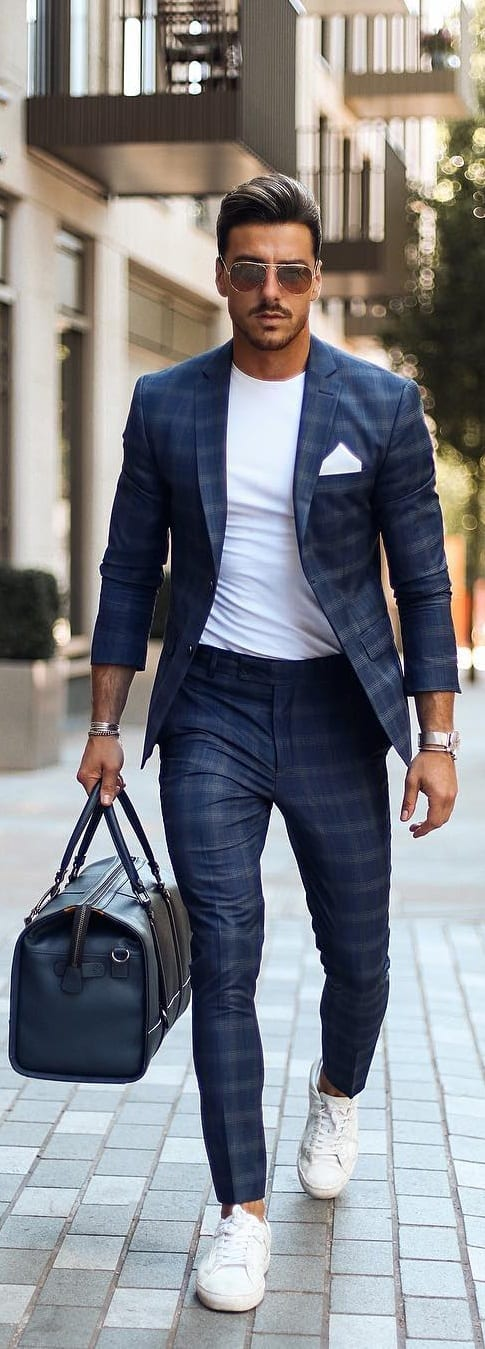 White T-shirt With Checked Suits Outfit Ideas For Men