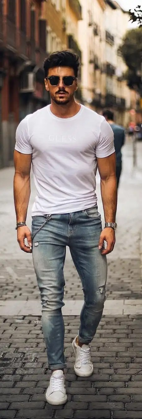White T-shirt With Jeans Outfit Ideas For Men