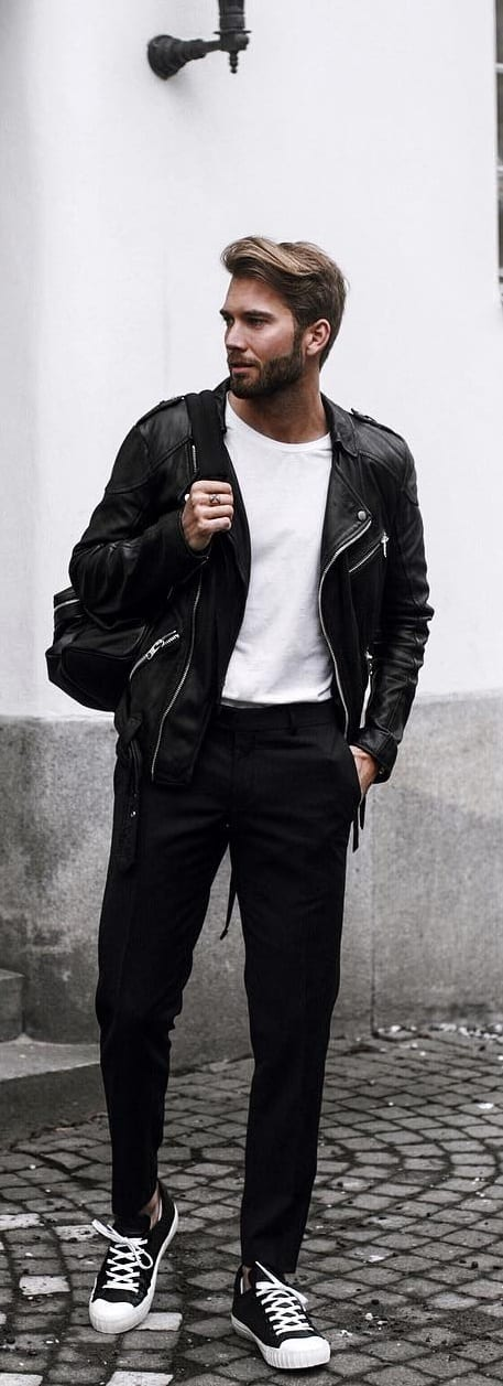 White T-shirt With Leather Jacket Outfit Ideas For Men