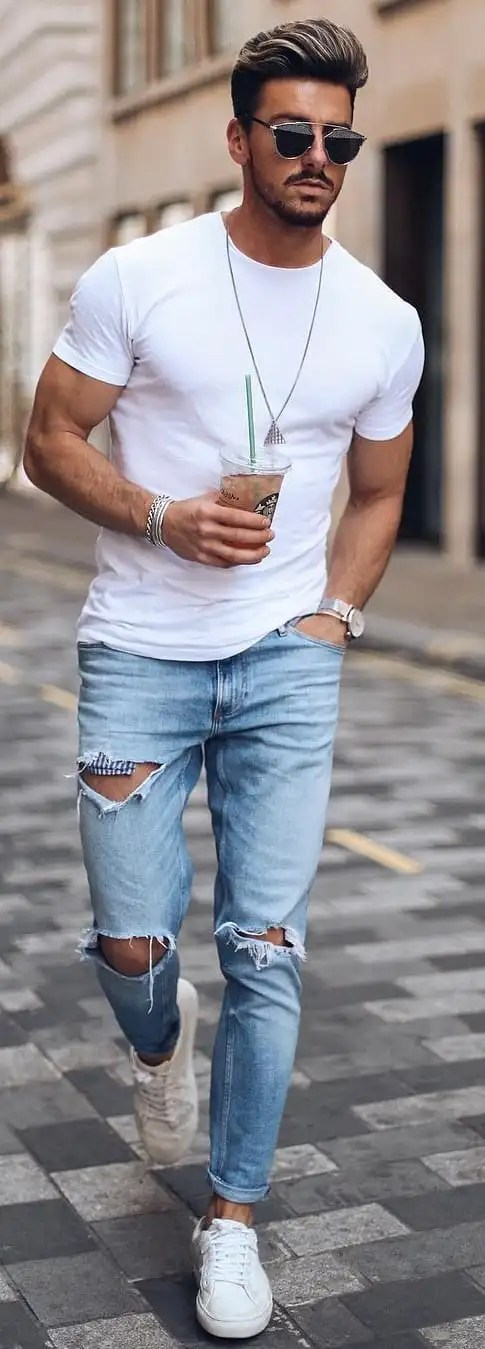 White T-shirt With Ripped Jeans Outfit Ideas For Men