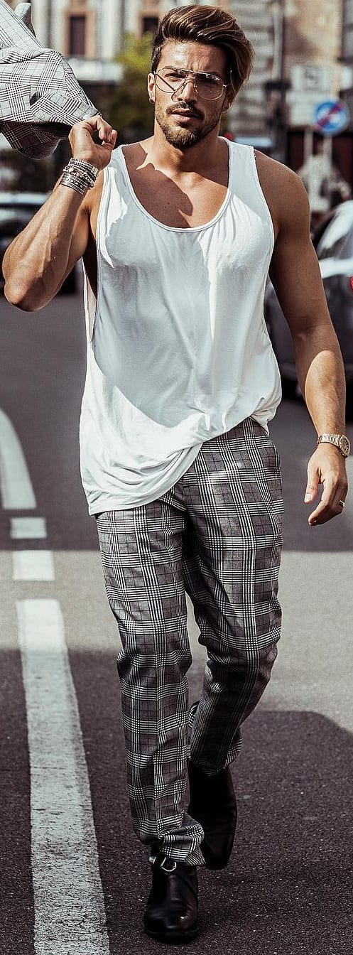 White Tank Top Outfit Ideas For Men