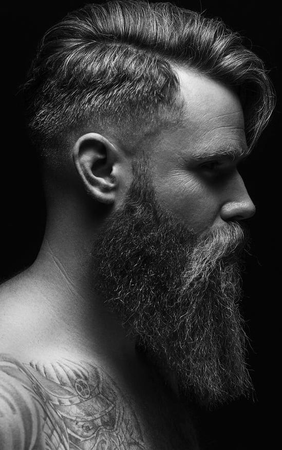 fade and long beard