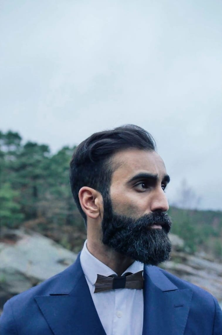medium beard and classic hairstyle