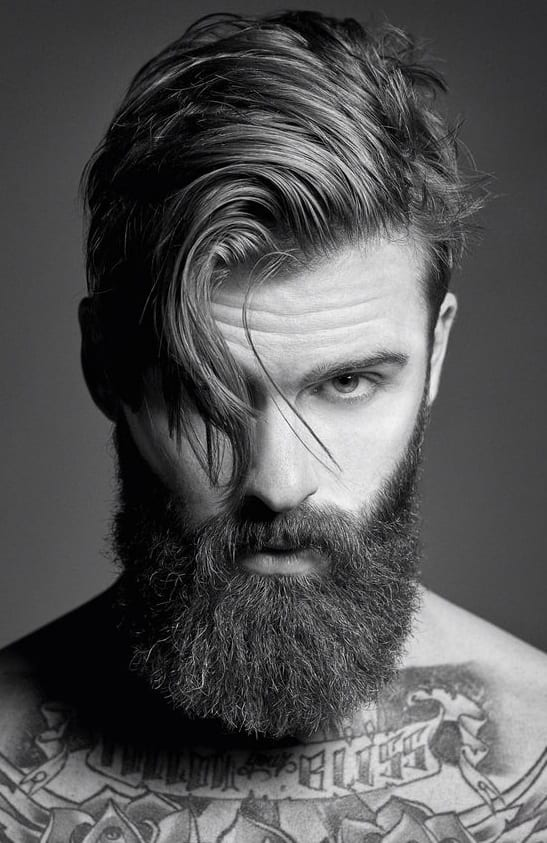 medium beard styles with side part hair