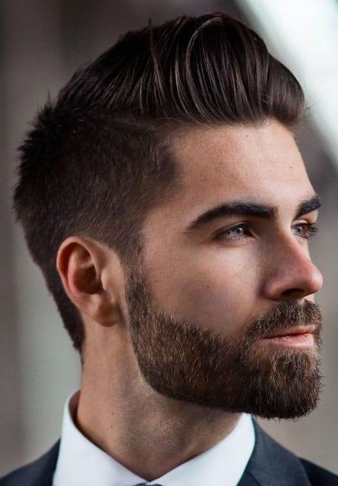 modern pompadour with short beard