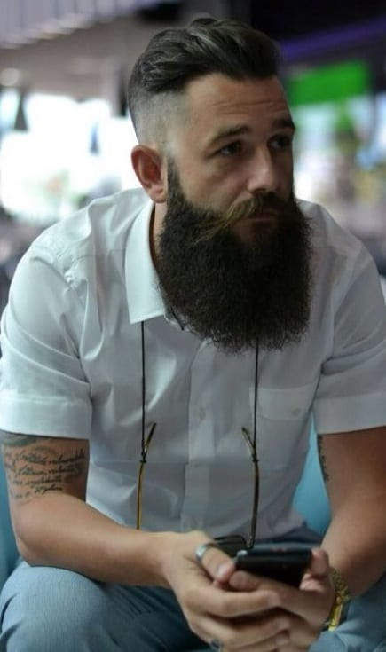 undercut fade with long beard