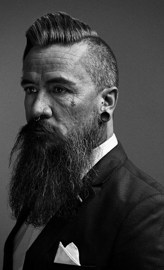 undercut pomp with long beard