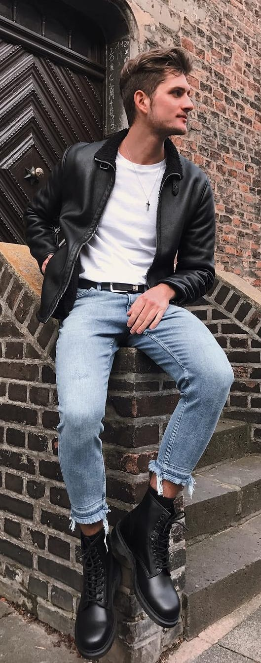Stunning Leather Jacket Outfit Ideas For Men