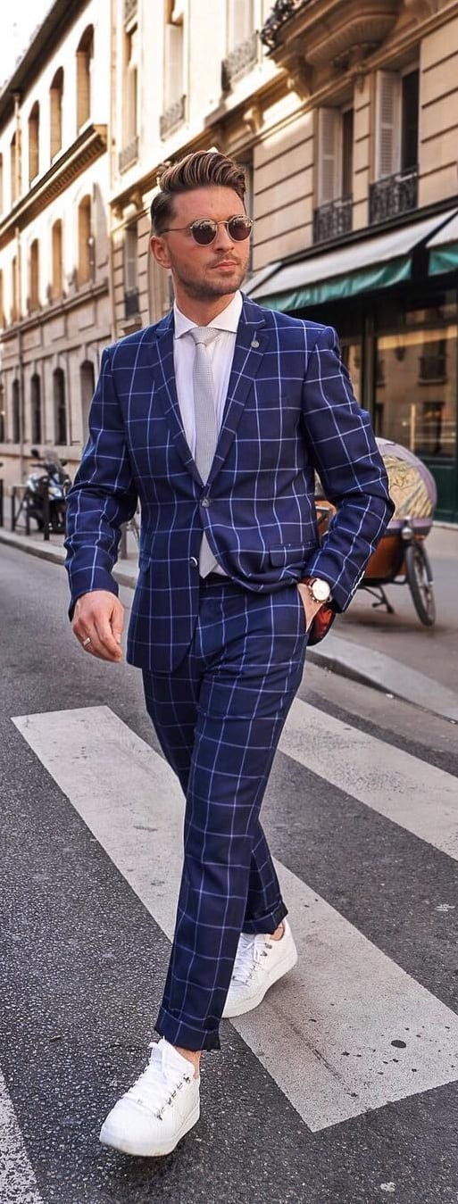 Stunning Suits With Sneakers Outfit Ideas