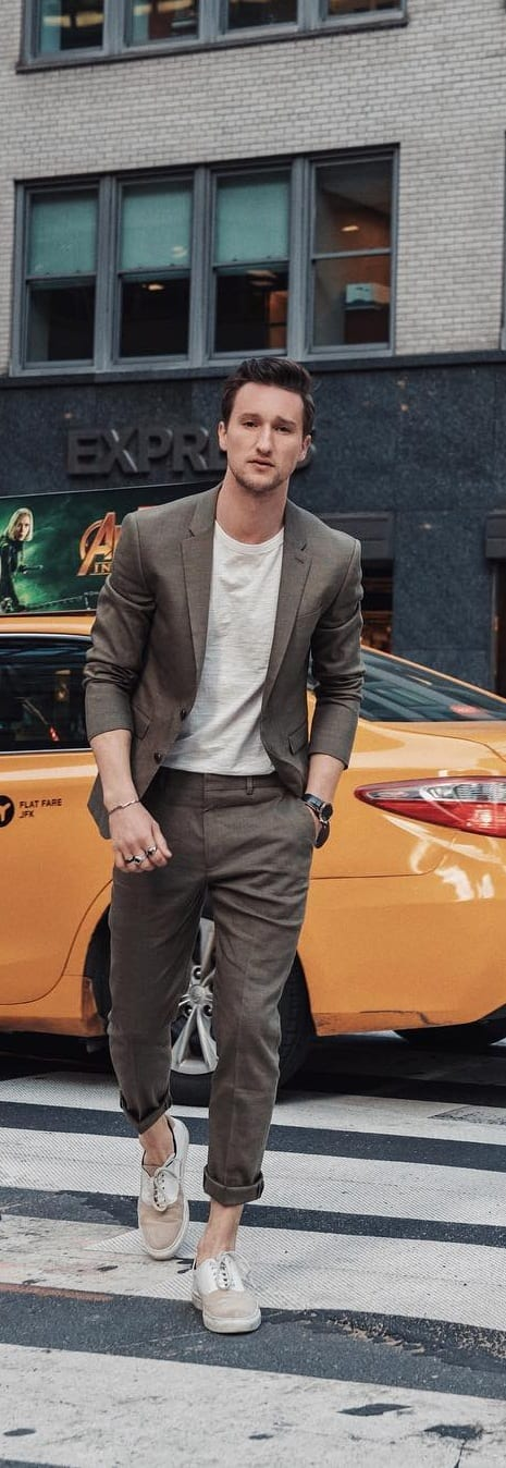 Stylish Suits With Sneakers Outfit Ideas