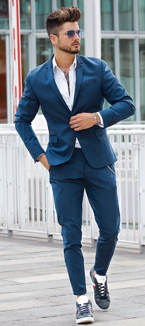 Trendy Suits With Sneakers Outfit Ideas