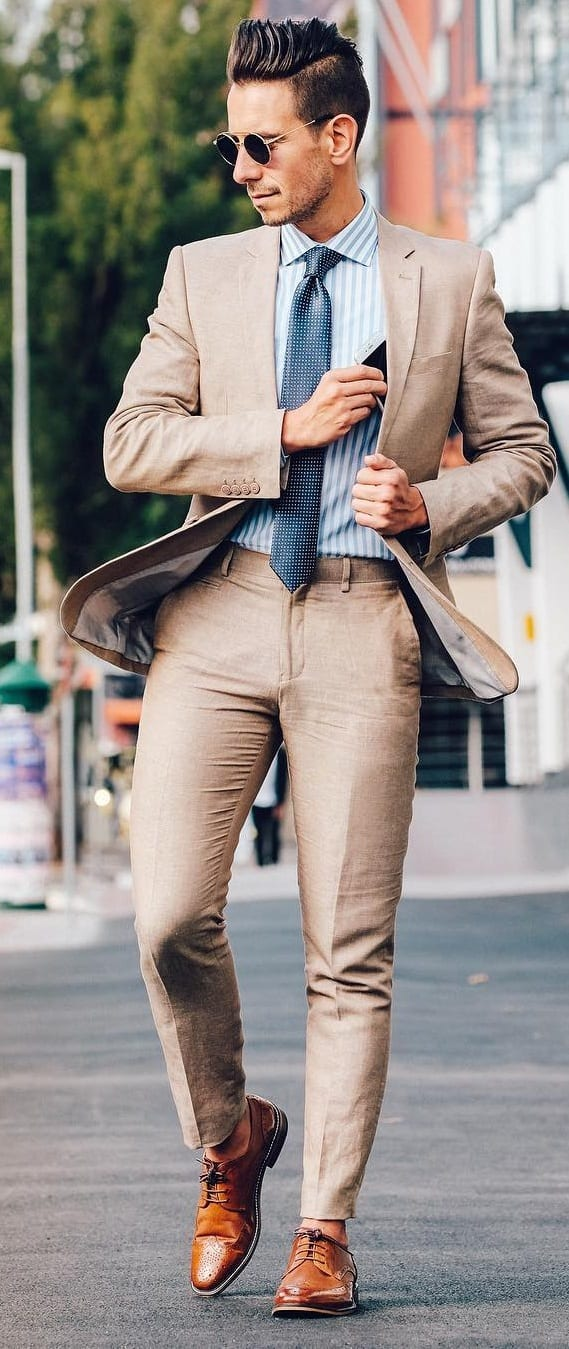 Khaki Suit Outfit Ideas For Guys In 2019