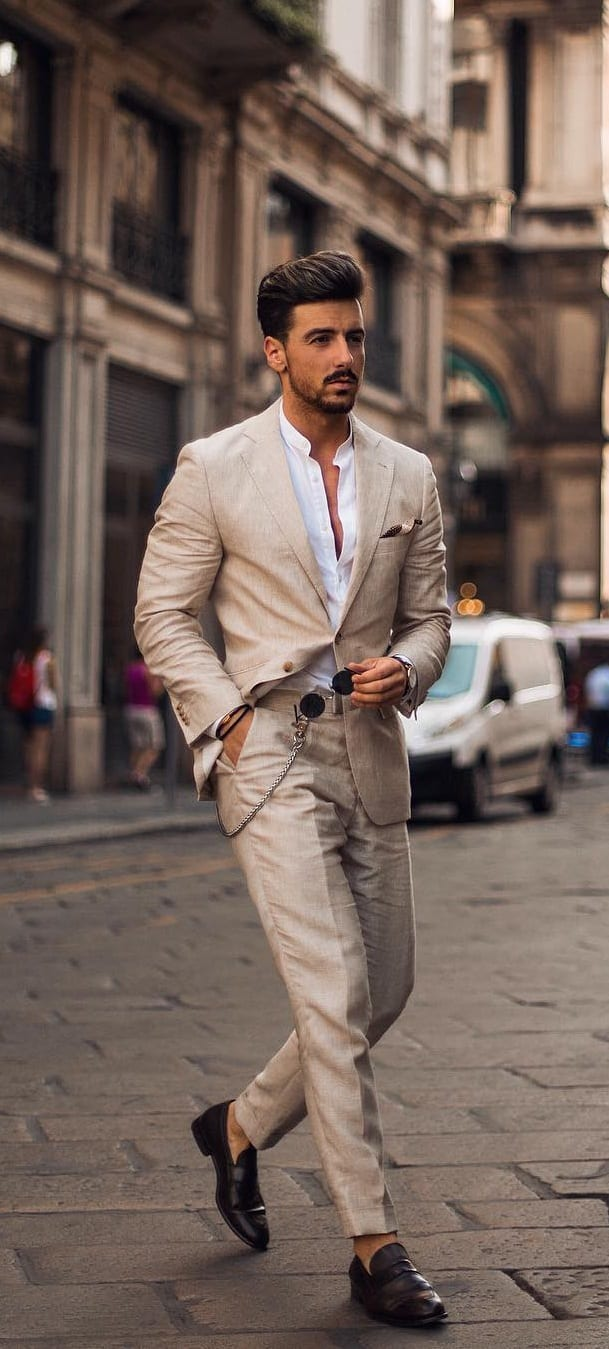 Khaki Suit Outfit Ideas For Men