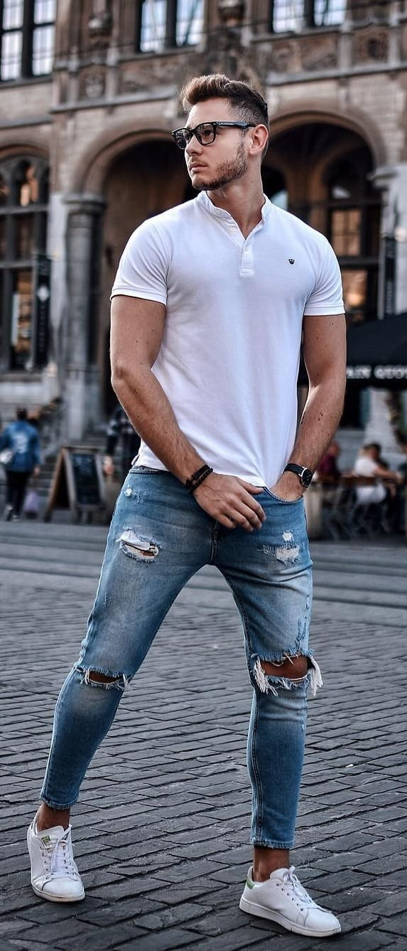 Trendy Polo T-shirt Outfit Ideas For Men