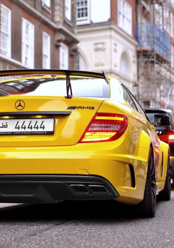 YELLOW AMG MERCEDES STREET COUPE